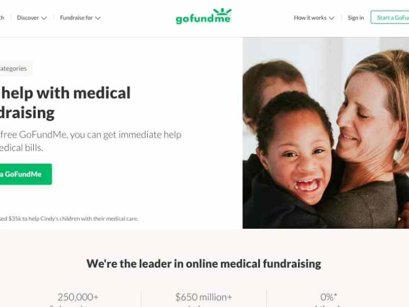 shows a screen grab of the front page of the medical section of GoFundMe.