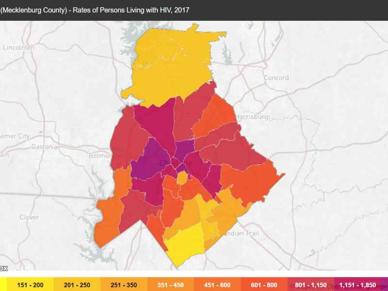 A county map shows rates of HIV in Mecklenburg County, but gives no indication of who may be using PrEP