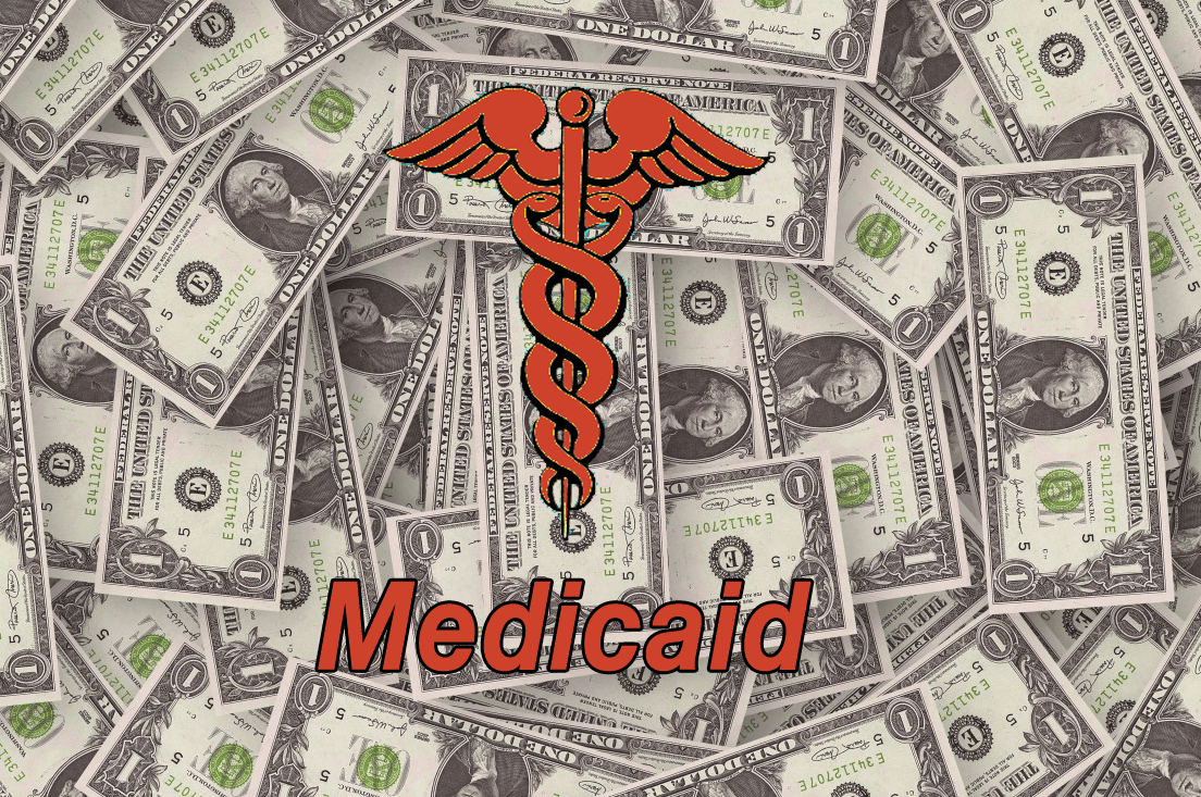 A graphic with money in the background. Medicaid transformation graphic, prepaid health plan, medicaid expansion