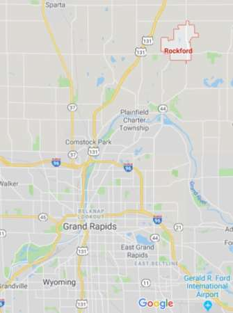 Rockford MI map, where high levels of PFAS contamination has been found