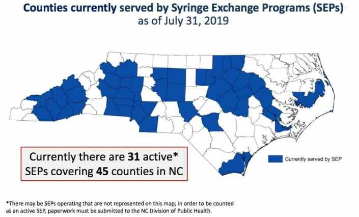 A map of North Carolina with 45 counties in blue, showing needle exchange programs, including areas in the western, middle and northern sides of the State as well as smaller pockets in the East and South.