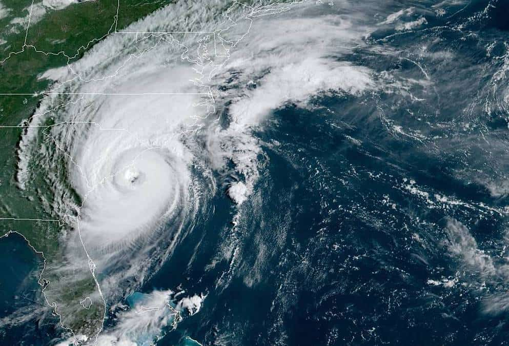 Shows Hurricane Dorian as it was over the NC Coast in September