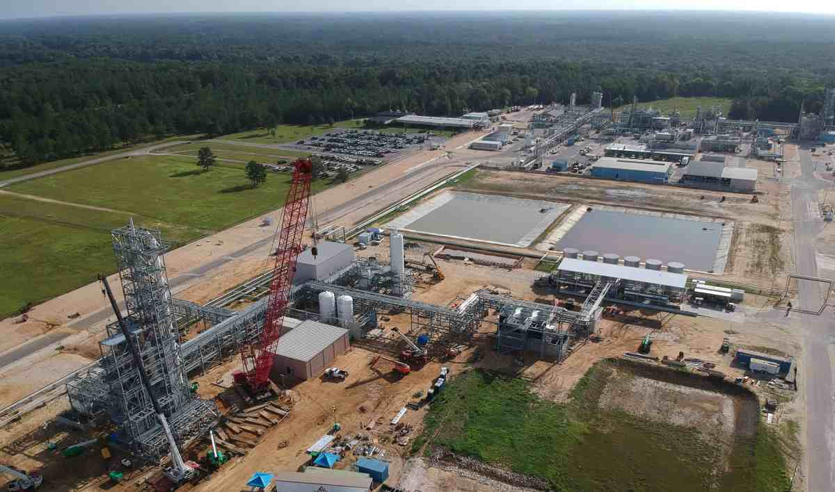 Shows arial view of construction of a thermal oxidizer to mitigate PFAS, machinery, building, etc at a the Chemours facility that has dumped PFAS and other fluorochemicals into nearby rivers, the air.