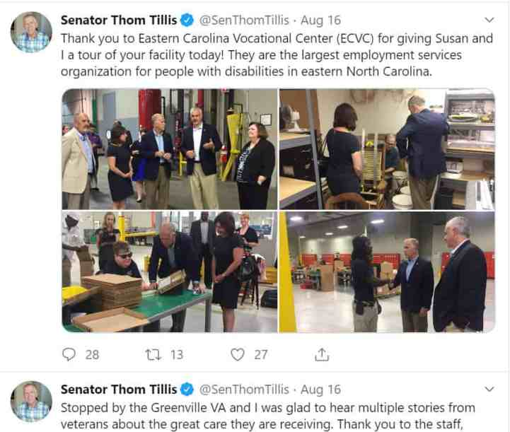 Thom Tillis tweet on visiting Eastern Carolina Vocational Center and Greenville VA. He has been in Congress for just under 6 years.