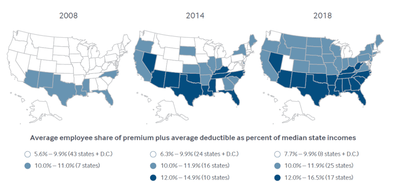 Three maps showing a decade of increasing health insurance costs