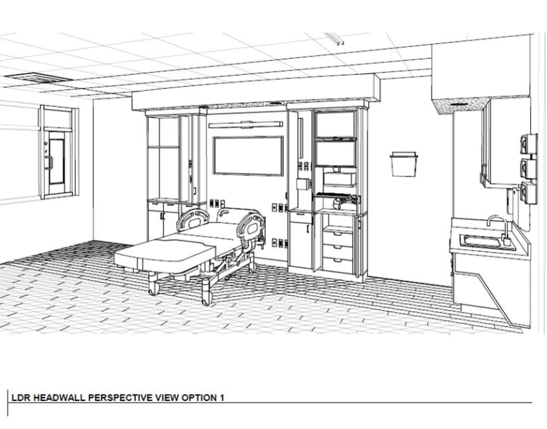 A schematic of a room at the new OB unit in Chatham Hospital. The maternity unit is slated to open in September 2020