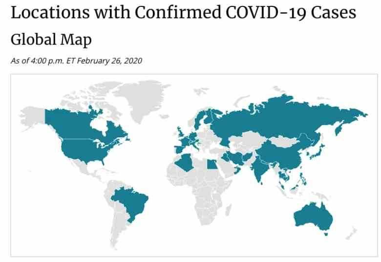 A map of coronavirus cases in the world as of Feb. 26, 2020