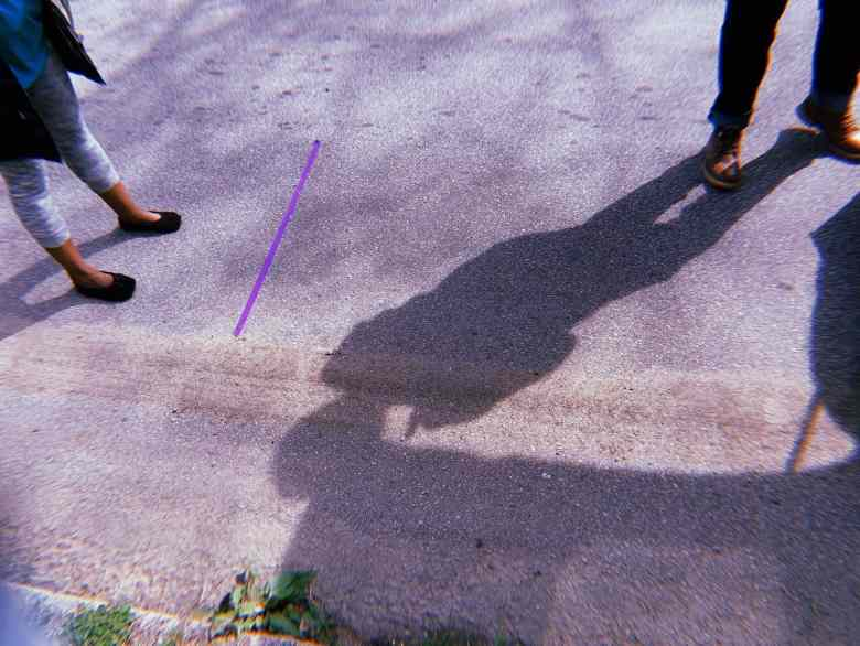 Shows people standing behind a purple line at least 6 feet apart because of coronavirus or COVID-19. They are part of the mobile health workforce.