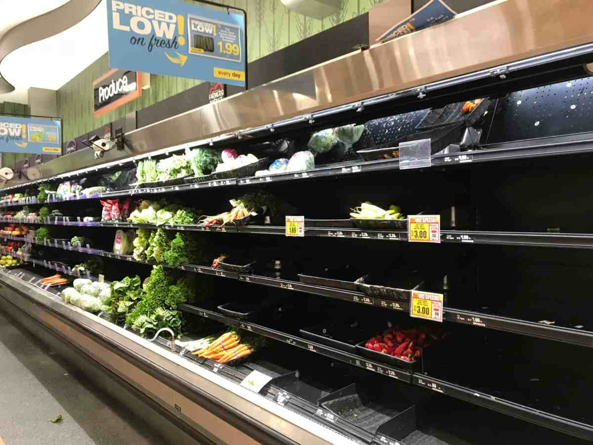 Empty grocery shelves as a response to coronavirus or COVID-19 pandemic