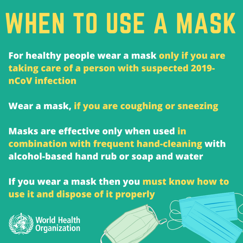 shows how and when to use a face mask to resist infection with coronavirus, COVID-19