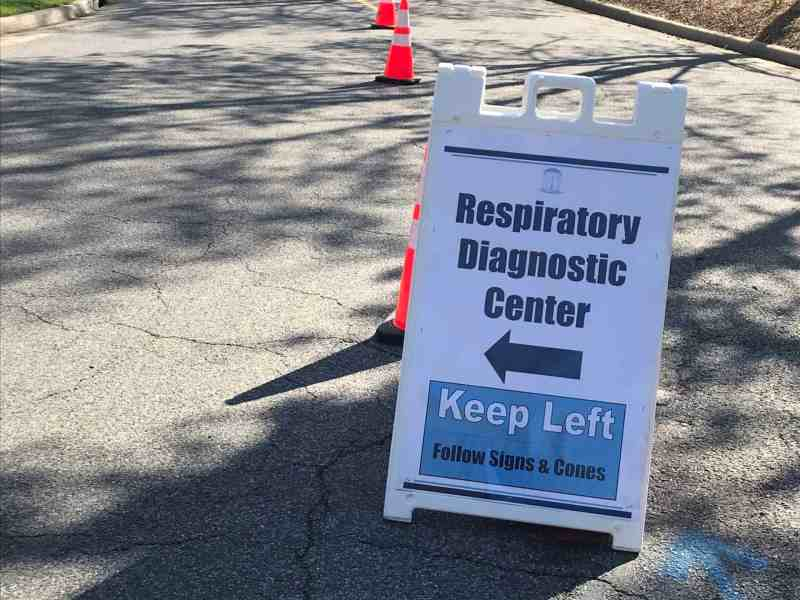 A sign for the respiratory diagnostic clinic in UNC, which tests people for COVID-19..