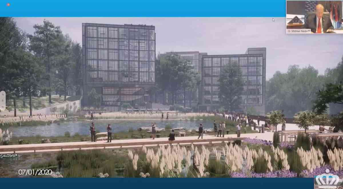shows an artists rendering of a corporate campus with buildings, a pond and walking trails. Centene is one of the U.S' largest Medicaid managed care companies