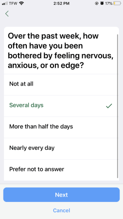 image is a screenshot asking if a the user has been feeling bothered or anxious in the past week