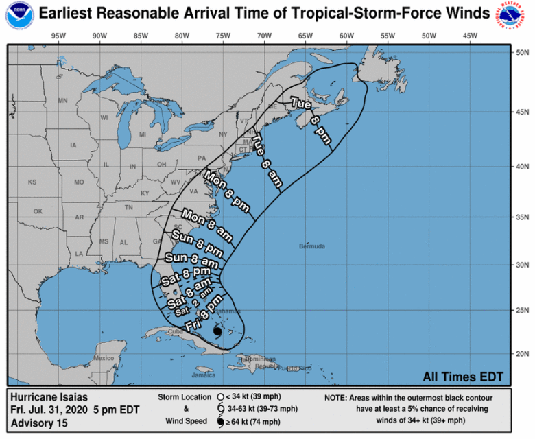 shows a hurricane track on a map