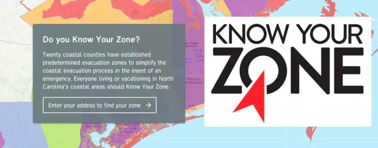 Screen shot of Know Your Zone website, with colorful maps showing hurricane flood zones
