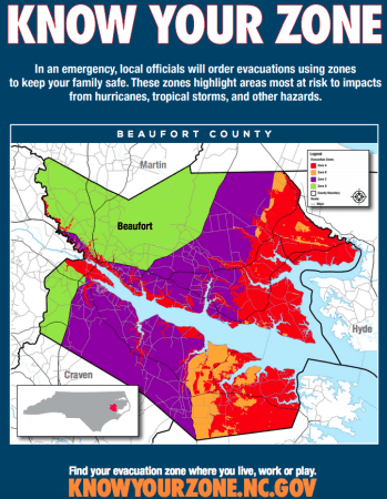 shows colorful maps of coastal communities that would flood in the case of a hurricane