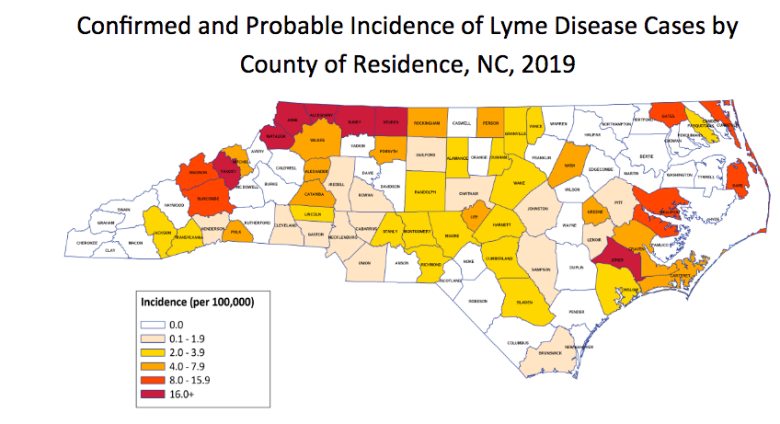 map showing where Lyme Disease occurs in North Carolina, by county.