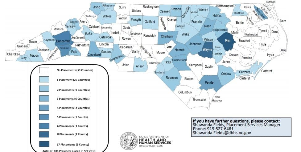 Map of loan repayment placements in FY2019