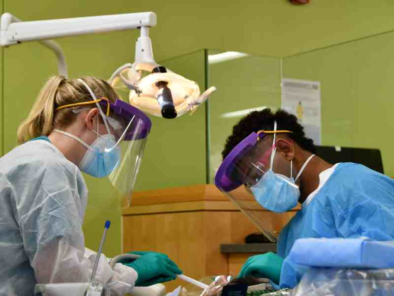 two dentistry students work with a patient