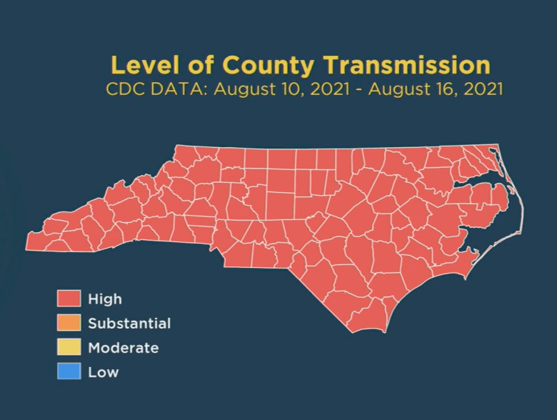 shows a map of North Carolina with all the counties filled in in red