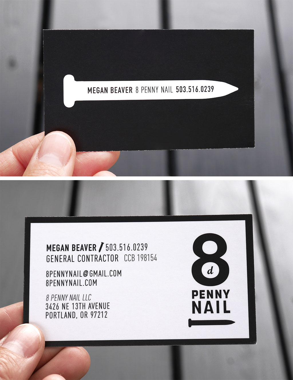 8 penny nail logo and business card by both corner design |