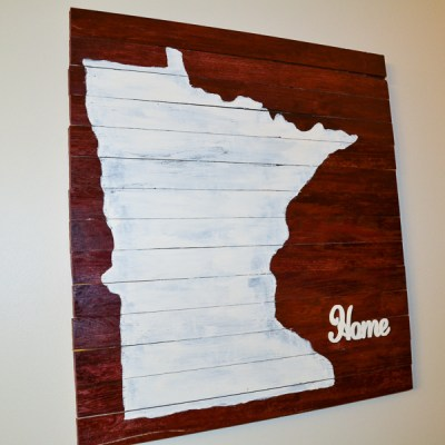 DIY Wood Pallet Sign with State Decal