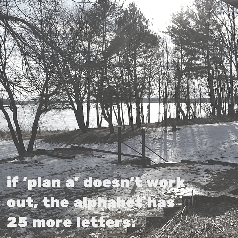 If 'plan a' doesn't work out, the alphabet has 25 more letters. (1)