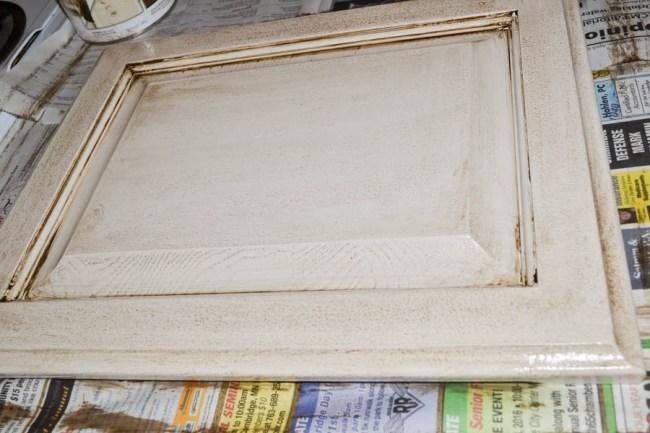 cabinet door after being glazed