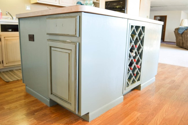 kitchen island with cabinet glaze for antique look