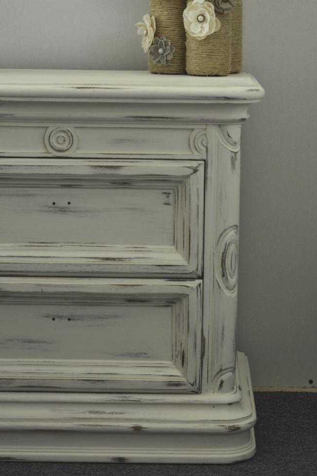 distressed nightstand with rustoleum white chalk paint