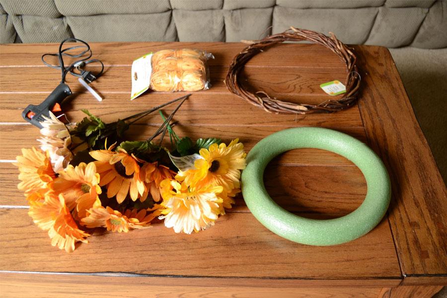 dollar store wreath supplies