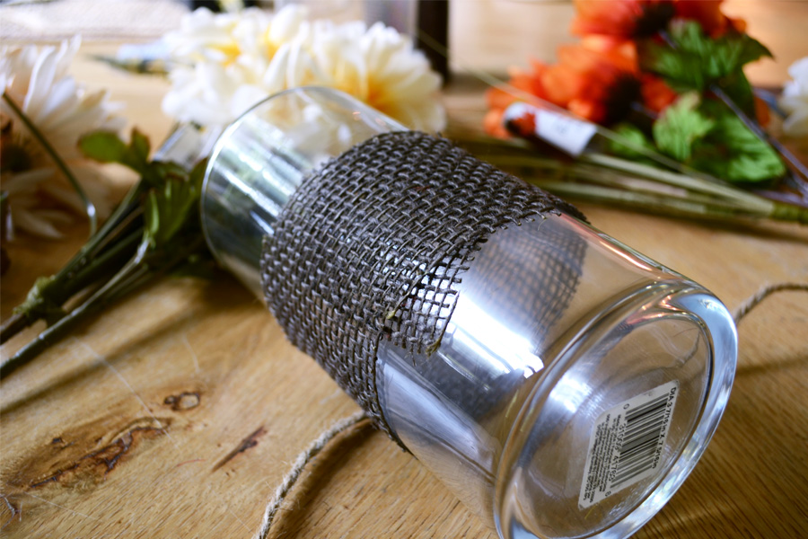 burlap on cylinder vase