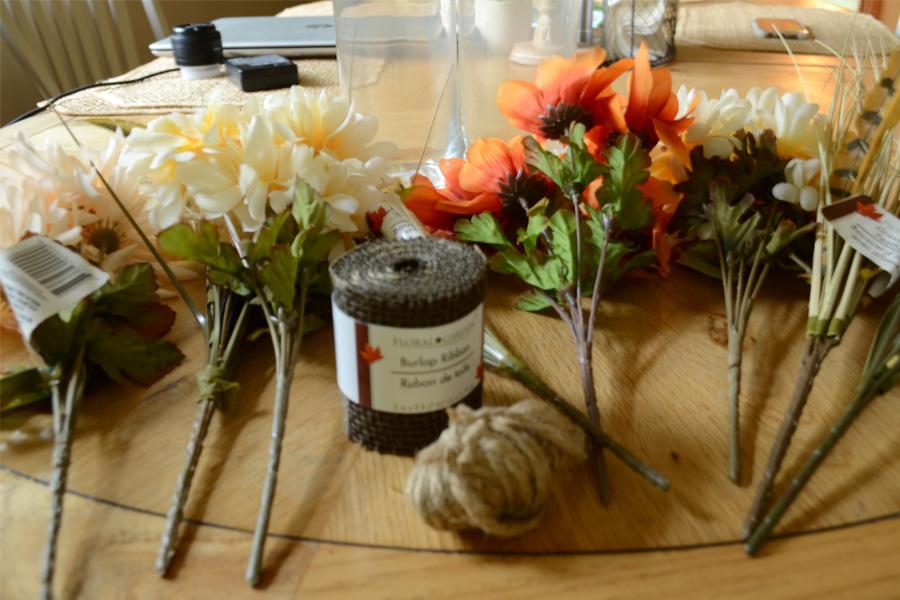 supplies to make fall flower arrangement