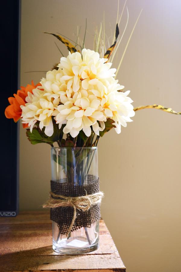 fall floral arrangement in vase