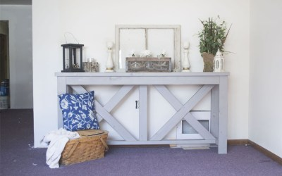 One Room Challenge Week Two: DIY Farmhouse Entryway Table