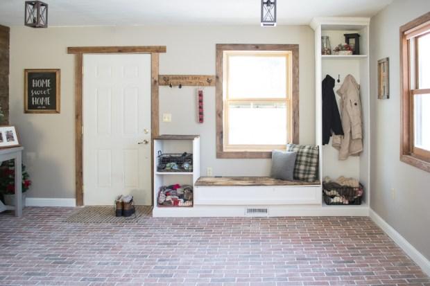 Entryway built ins | brick floor | dark wood trim