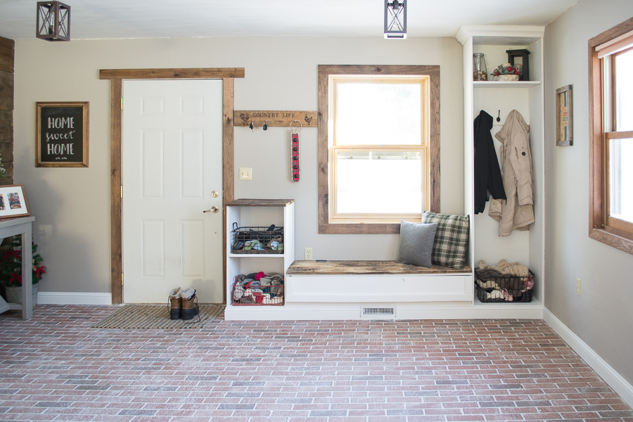Entryway built ins | brick floor | dark wood trim