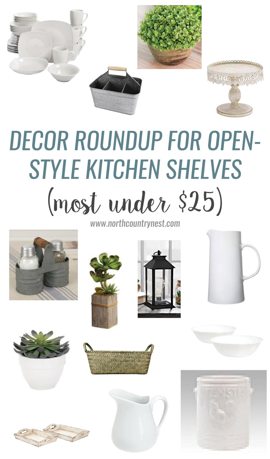 Decor Roundup for Open-Style Kitchen Shelves