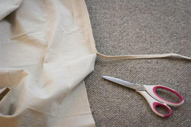 DIY Drop Cloth Side Tie Pillow