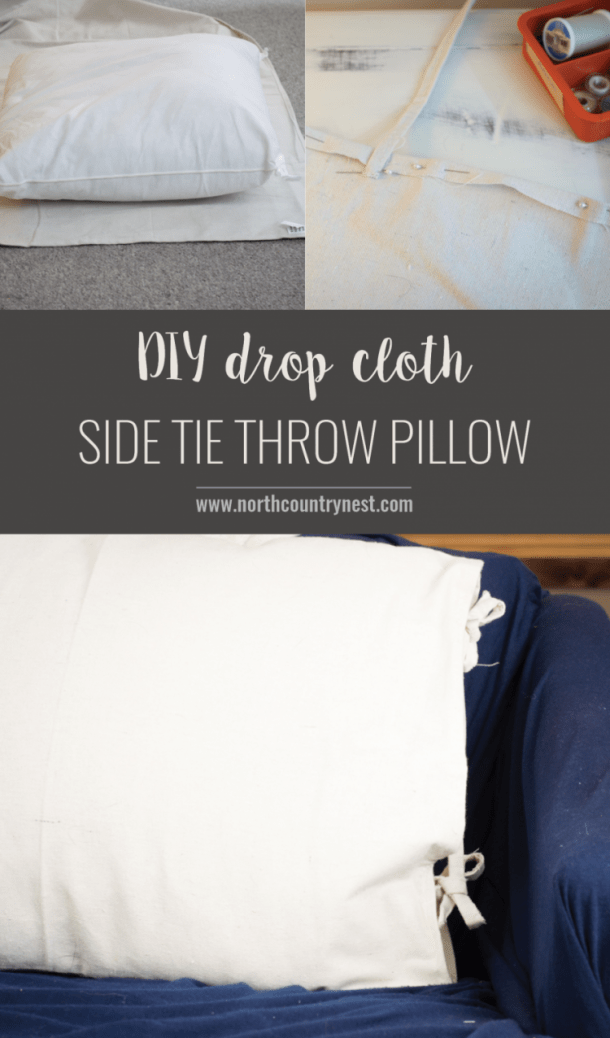 DIY Drop Cloth Side Tie Pillow