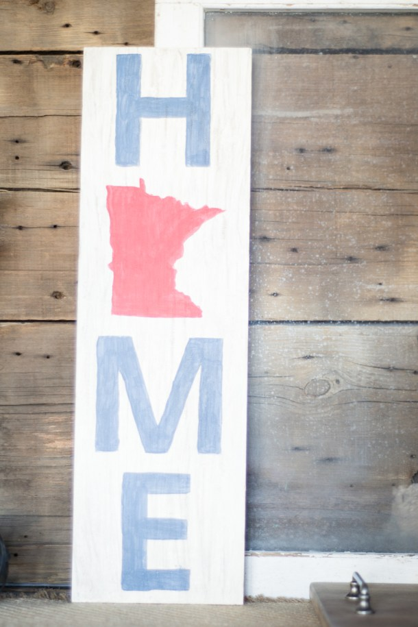 DIY Wooden Minnesota Home Sign