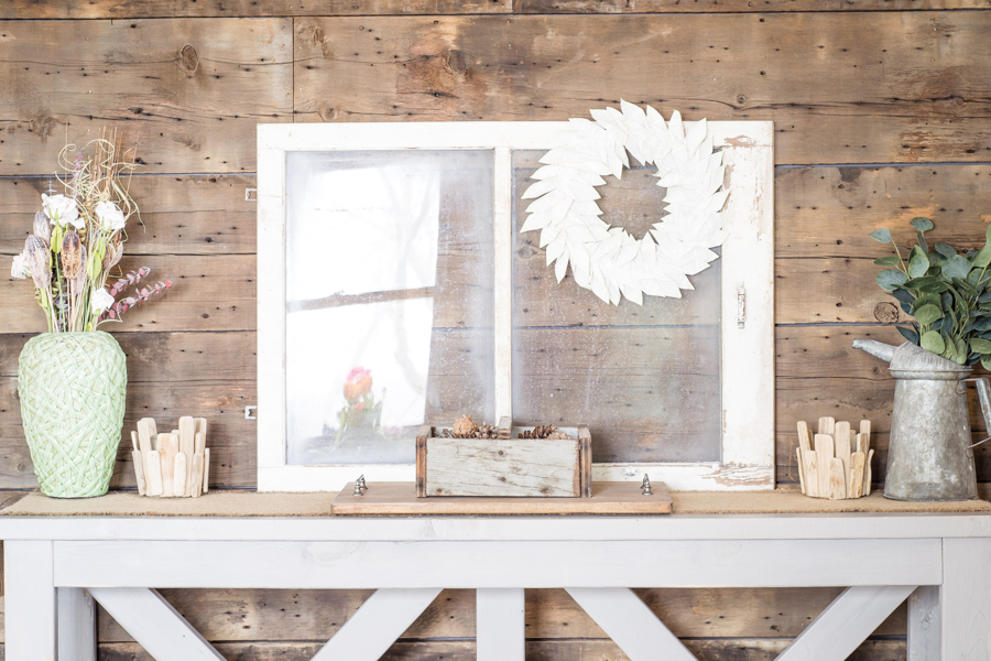 spring entryway table with rustic decor