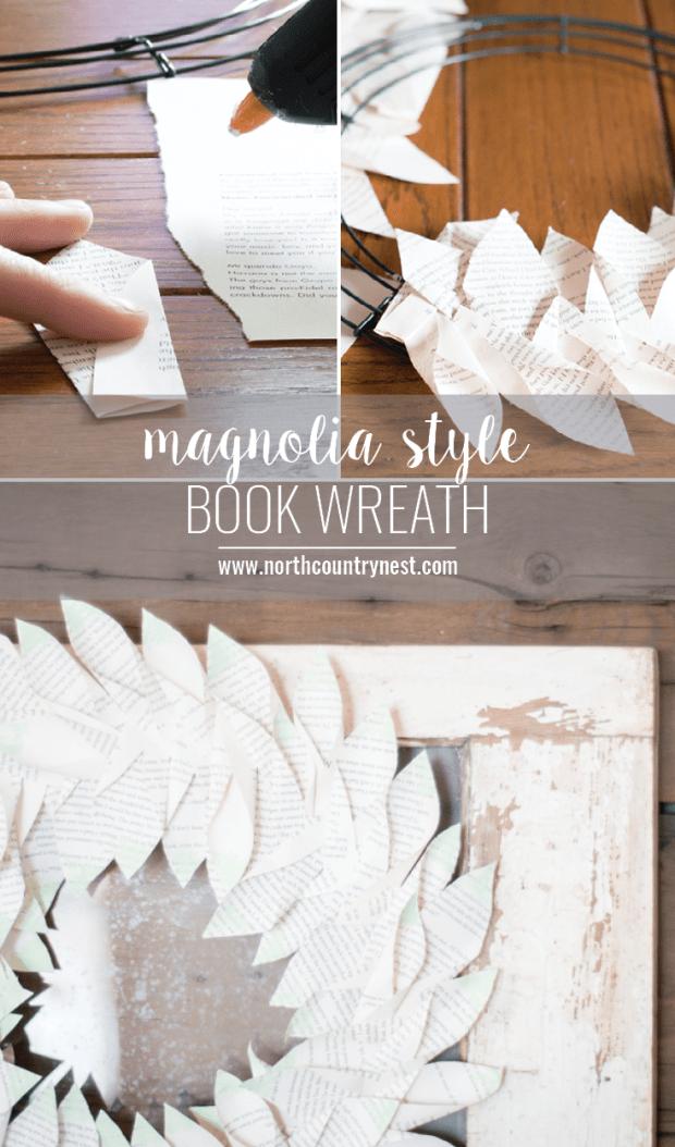 Magnolia Style Book Page Wreath