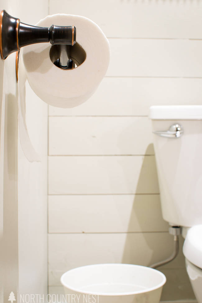 industrial farmhouse guest bathroom