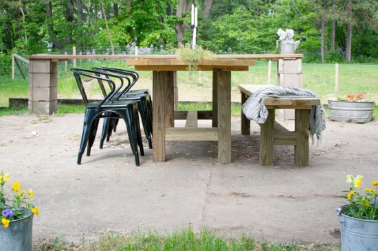 outdoor farmhouse patio table with bench and black outdoor farmhouse chairs