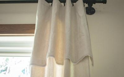 DIY Farmhouse Drop Cloth Curtains with Lace