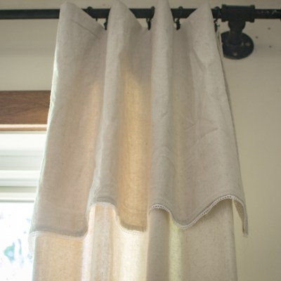 DIY Farmhouse Drop Cloth Curtains with Lace