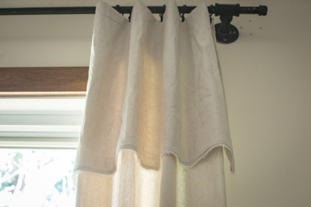 DIY drop cloth curtains with lace