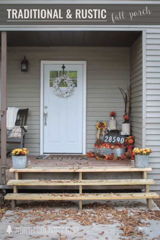 traditional and rustic fall porch decor