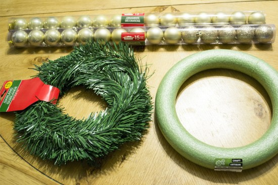 DIY dollar store holiday wreath